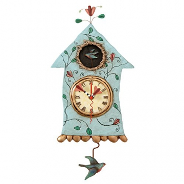 enesco p8008 allen designs wanduhr mit pendel fly bird sch ne wanduhren. Black Bedroom Furniture Sets. Home Design Ideas